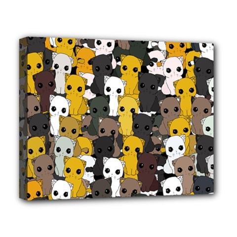 Cute Cats Pattern Deluxe Canvas 20  X 16   by Valentinaart