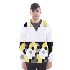 Black, Gray, Yellow Stripes And Dots Hooded Wind Breaker (men) by theunrulyartist
