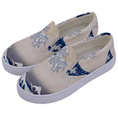 The Classic Japanese Great Wave Off Kanagawa By Hokusai Kids  Canvas Slip Ons by PodArtist