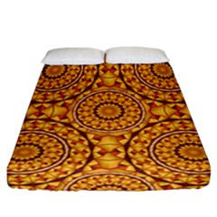 Golden Mandalas Pattern Fitted Sheet (california King Size) by linceazul