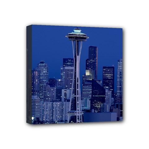 Space Needle Seattle Washington Mini Canvas 4  X 4  by Nexatart