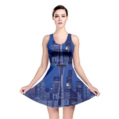 Space Needle Seattle Washington Reversible Skater Dress