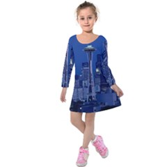 Space Needle Seattle Washington Kids  Long Sleeve Velvet Dress