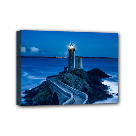 Plouzane France Lighthouse Landmark Mini Canvas 7  X 5