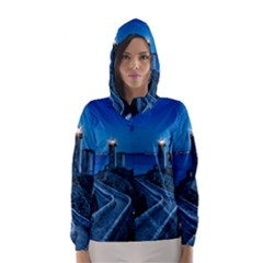 Plouzane France Lighthouse Landmark Hooded Wind Breaker (women) by Nexatart
