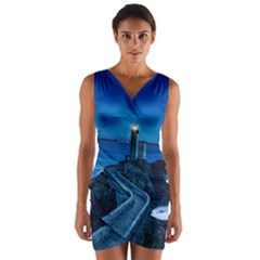 Plouzane France Lighthouse Landmark Wrap Front Bodycon Dress