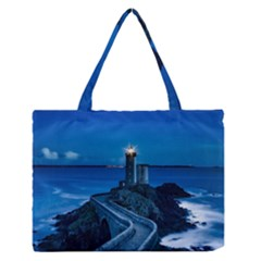 Plouzane France Lighthouse Landmark Zipper Medium Tote Bag