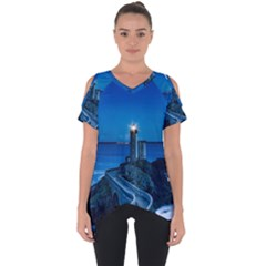 Plouzane France Lighthouse Landmark Cut Out Side Drop Tee by Nexatart