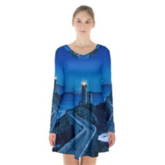 Plouzane France Lighthouse Landmark Long Sleeve Velvet V Neck Dress