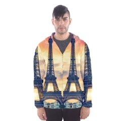 Eiffel Tower Paris France Landmark Hooded Wind Breaker (men) by Nexatart