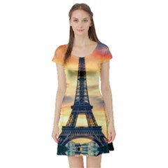 Eiffel Tower Paris France Landmark Short Sleeve Skater Dress