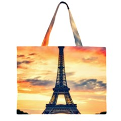 Eiffel Tower Paris France Landmark Zipper Large Tote Bag by Nexatart