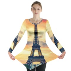 Eiffel Tower Paris France Landmark Long Sleeve Tunic