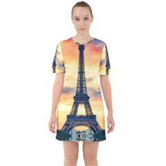 Eiffel Tower Paris France Landmark Sixties Short Sleeve Mini Dress