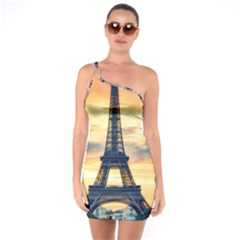 Eiffel Tower Paris France Landmark One Soulder Bodycon Dress