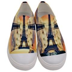 Eiffel Tower Paris France Landmark Men s Low Top Canvas Sneakers