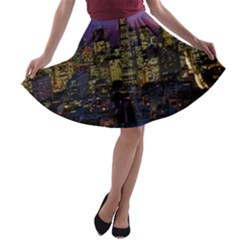 San Francisco California City Urban A Line Skater Skirt