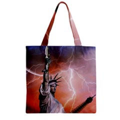 Statue Of Liberty New York Zipper Grocery Tote Bag