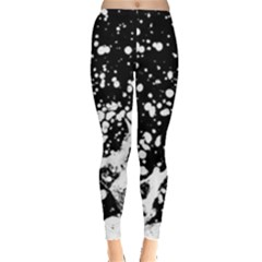 Black And White Splash Texture Leggings  by dflcprints