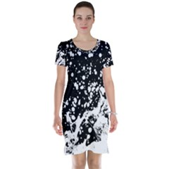 Black And White Splash Texture Short Sleeve Nightdress by dflcprints