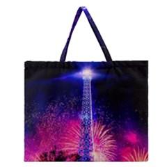 Paris France Eiffel Tower Landmark Zipper Large Tote Bag
