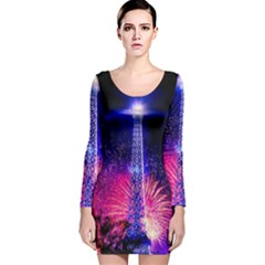 Paris France Eiffel Tower Landmark Long Sleeve Velvet Bodycon Dress