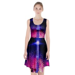 Paris France Eiffel Tower Landmark Racerback Midi Dress
