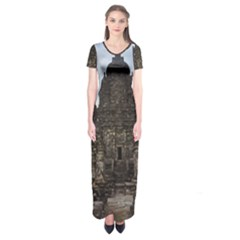 Prambanan Temple Indonesia Jogjakarta Short Sleeve Maxi Dress