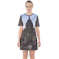 Prambanan Temple Indonesia Jogjakarta Sixties Short Sleeve Mini Dress