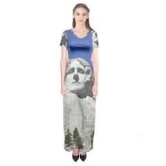 Mount Rushmore Monument Landmark Short Sleeve Maxi Dress