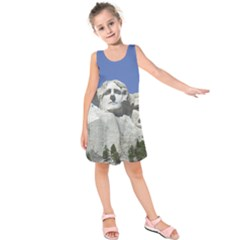 Mount Rushmore Monument Landmark Kids  Sleeveless Dress