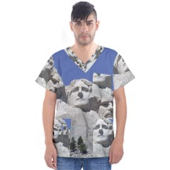 Mount Rushmore Monument Landmark Men s V Neck Scrub Top