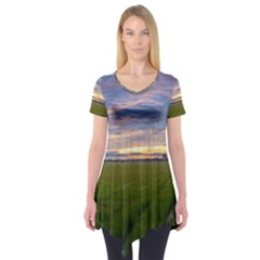 Landscape Sunset Sky Sun Alpha Short Sleeve Tunic