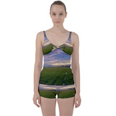 Landscape Sunset Sky Sun Alpha Tie Front Two Piece Tankini
