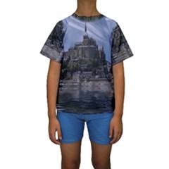 Mont Saint Michel France Normandy Kids  Short Sleeve Swimwear
