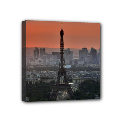 Paris France French Eiffel Tower Mini Canvas 4  X 4