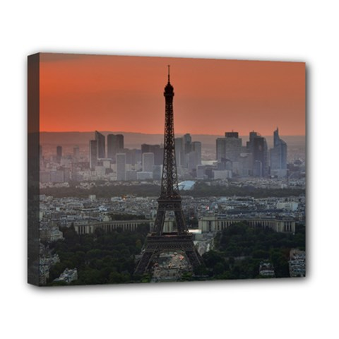 Paris France French Eiffel Tower Deluxe Canvas 20  X 16