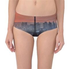 Paris France French Eiffel Tower Mid Waist Bikini Bottoms
