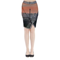 Paris France French Eiffel Tower Midi Wrap Pencil Skirt