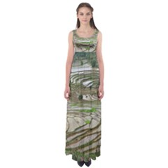 Rice Fields Terraced Terrace Empire Waist Maxi Dress