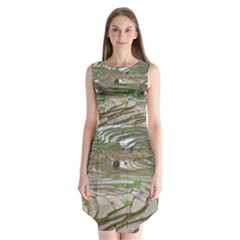 Rice Fields Terraced Terrace Sleeveless Chiffon Dress