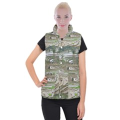 Rice Fields Terraced Terrace Women s Button Up Puffer Vest