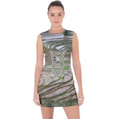 Rice Fields Terraced Terrace Lace Up Front Bodycon Dress