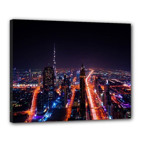 Dubai Cityscape Emirates Travel Canvas 20  X 16