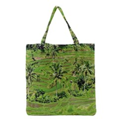 Greenery Paddy Fields Rice Crops Grocery Tote Bag by Nexatart