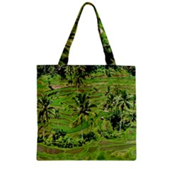Greenery Paddy Fields Rice Crops Zipper Grocery Tote Bag