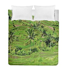 Greenery Paddy Fields Rice Crops Duvet Cover Double Side (full/ Double Size) by Nexatart