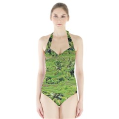 Greenery Paddy Fields Rice Crops Halter Swimsuit