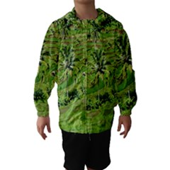 Greenery Paddy Fields Rice Crops Hooded Wind Breaker (kids)