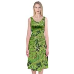 Greenery Paddy Fields Rice Crops Midi Sleeveless Dress